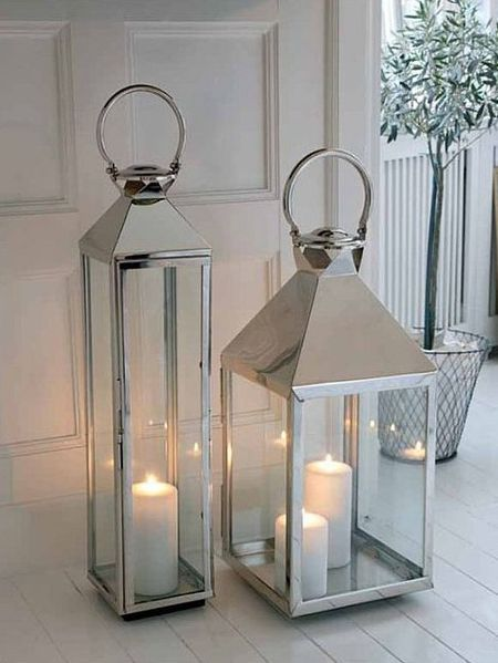 Stainless steel lanterns large lanterns stainless for Large outdoor christmas candles