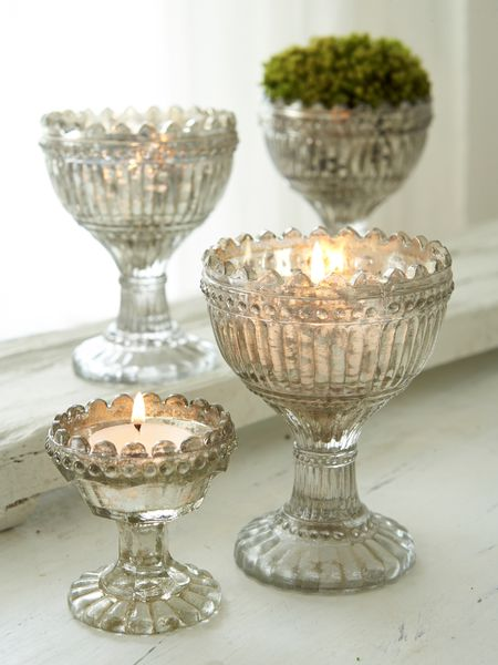Vintage Glass Tealight Holders Nordic House