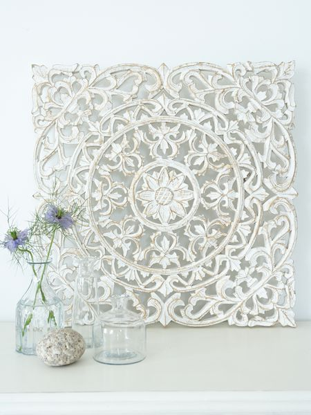 White carved wall panel design nordic house