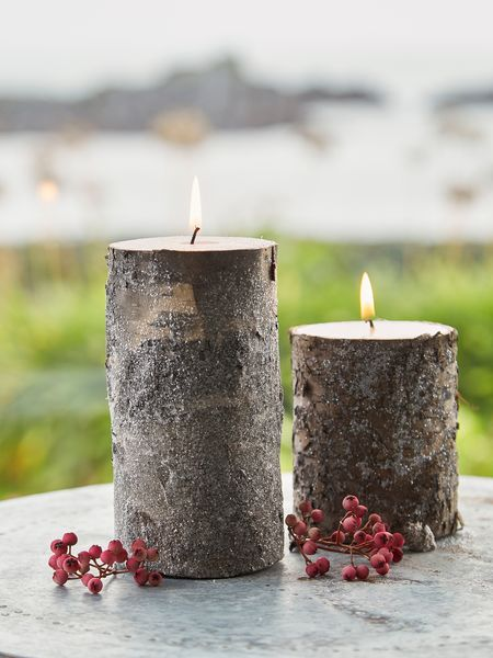 Birch candles with glitter for Shimmer pillar candle