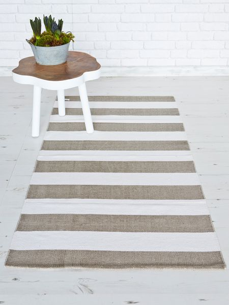 Natural & White Striped Rug