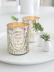 Silver Embossed Tealight Holder