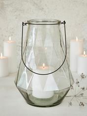 Geometric Glass Lantern - Clear