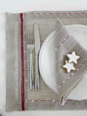 Red Pinstripe Table Linens