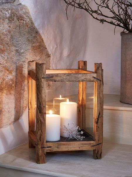 Reclaimed Wood Candle Lantern - L
