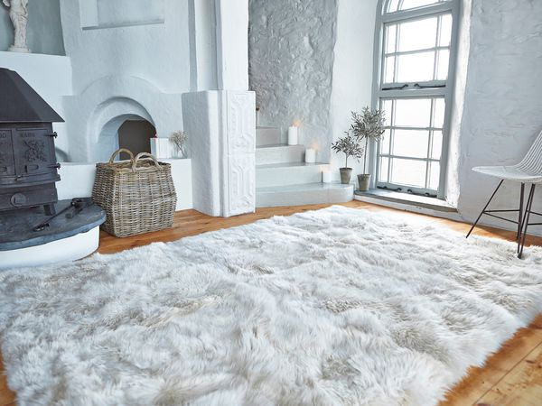 Luxurious Xl Sheepskin Rug Linen Nordic House