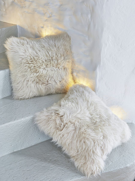 Luxurious Sheepskin Cushion - Champagne