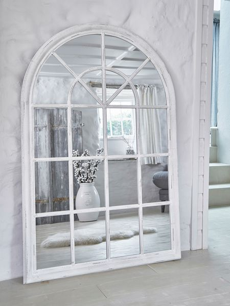 Arched Loft-Style Window Mirror