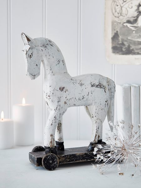 Small Vintage White Wooden Horse