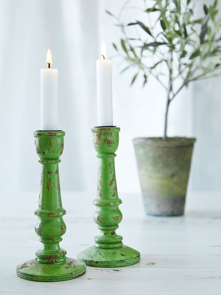 Apple Green Wooden Candle Holder