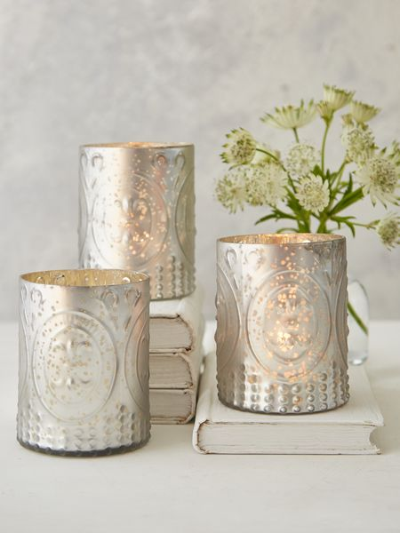 Silver Grey Embossed Tealight Holders
