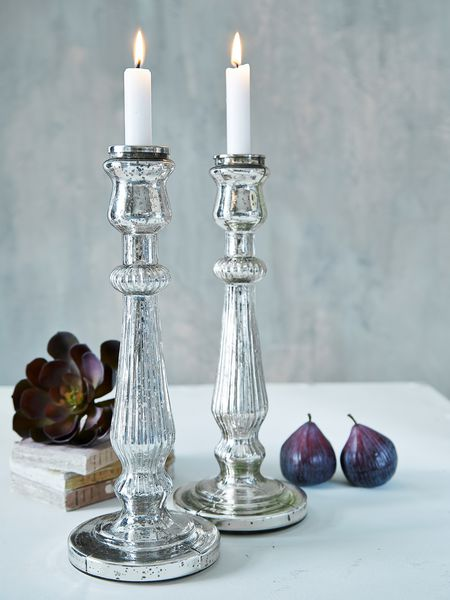 Large Mercury Silver Candlestick