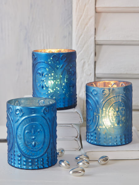 Azure Blue Embossed Tealight Holder