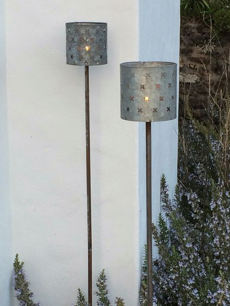 Outdoor Aged Zinc Candle Stakes