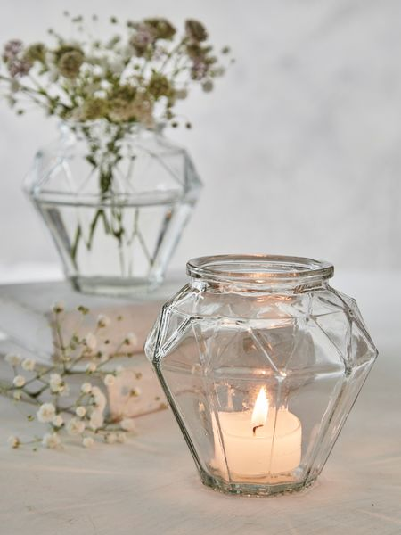 Geometric Tealight Holder - Clear