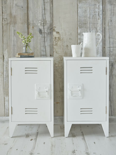 Industrial Bedside Cabinets - White
