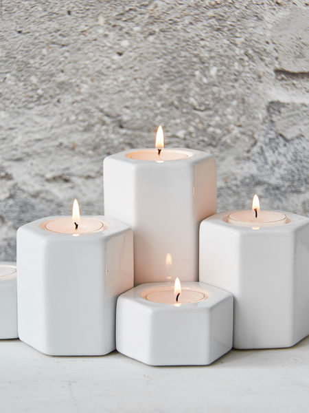 Hexagonal Tealight Holders - White