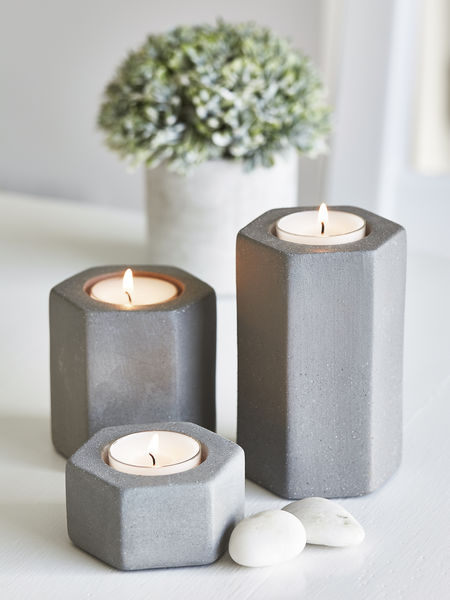 Hexagonal Tealight Holders Concrete Grey