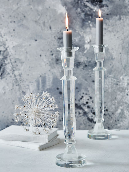 Tall Faceted Glass Candlestick