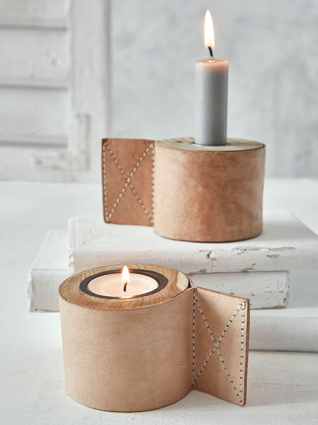 Teak and Leather Candle Holder