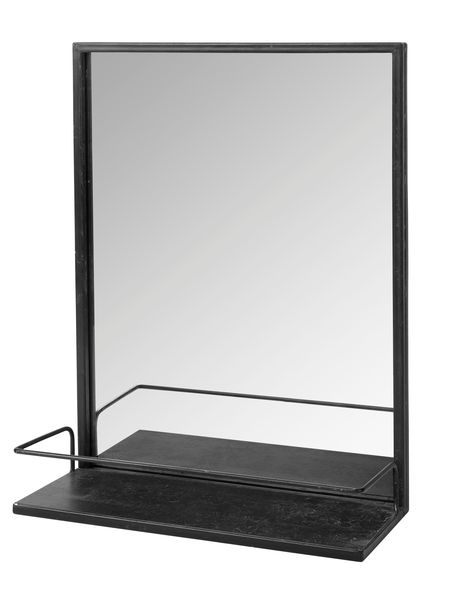 Distressed metal shelf mirror for Miroir metal noir
