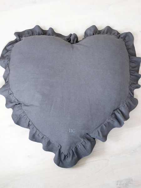 Huge Slate Grey Heart Cushion