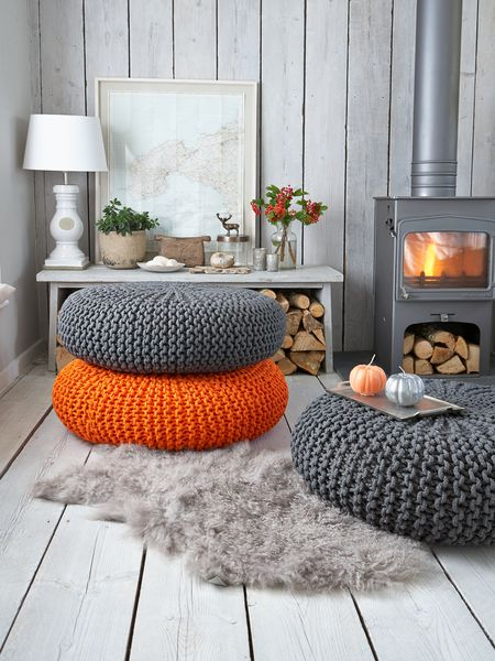 Large Knitted Pouf