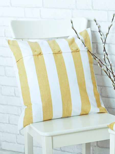 Ochre Yellow Striped Cushions