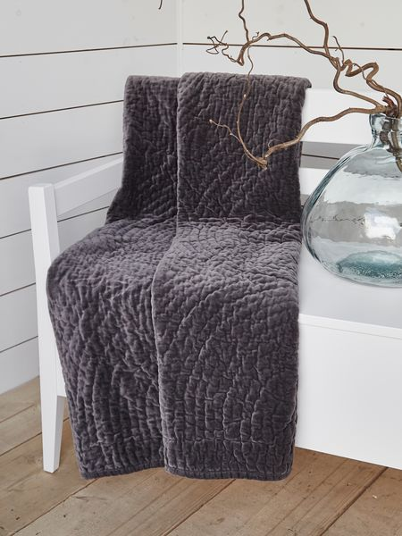 Quilted Velvet Throw - Anthracite