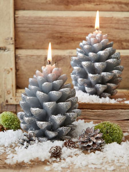 Silver Pine Cone Candle