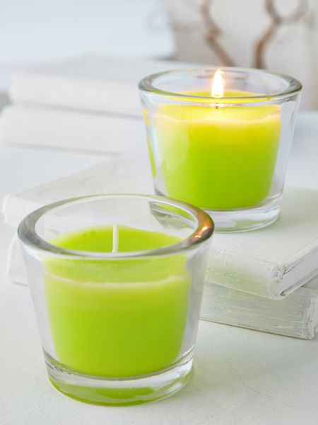 Lime Green Glass Candle Votive