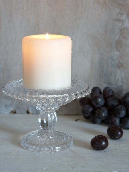 Vintage Glass Pillar Candle Holder