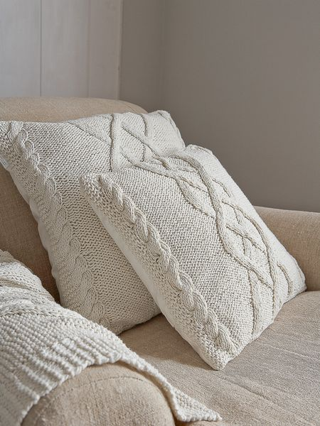 Cable Knit Cushion - Old White