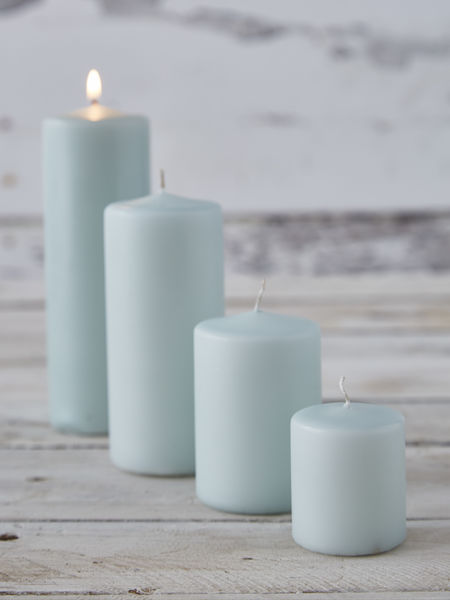 Cool Aqua Pillar Candles