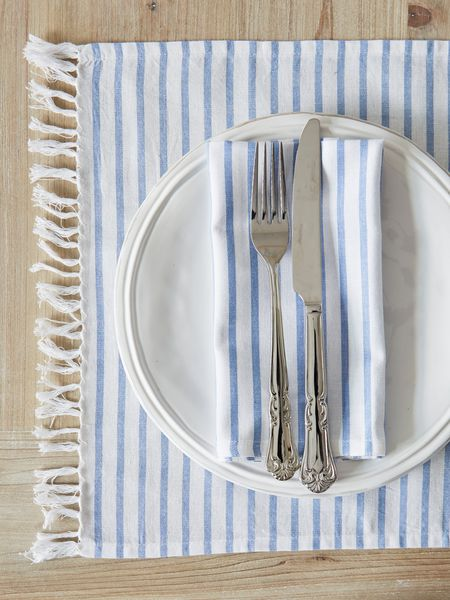 Light Blue Striped Table Linens