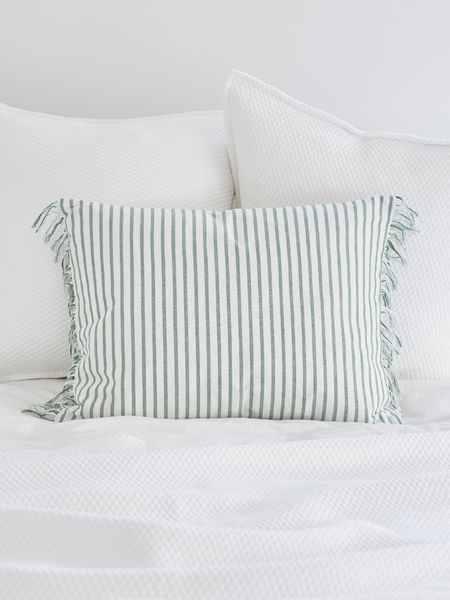 Green & White Striped Cushion