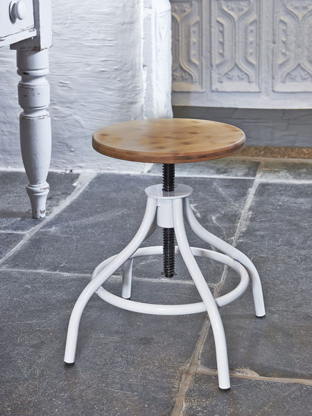 White & Wood Adjustable Stool