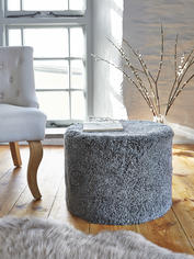 Curly Sheepskin Pouf - Grey