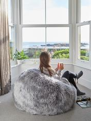 Luxurious Sheepskin Bean Bag - Lt Grey