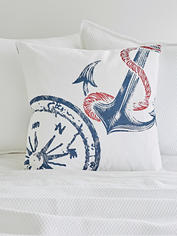 Nautical Cushion - Navy & Red