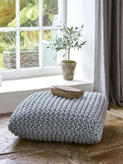 Chunky Knit Floor Cushion - Ice Blue