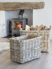 Rattan Log Basket Set on Wheels