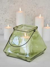 Square Glass Lantern - Green