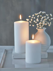 Rilled Pillar Candles - White