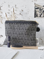Graphic Print Make Up Bag - Ebony