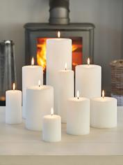 Stylish White Pillar Candles