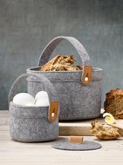 Felt and Leather Basket Set