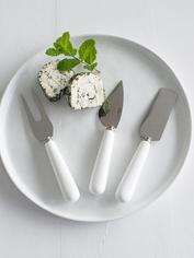 White Porcelain Cheese Knife Set