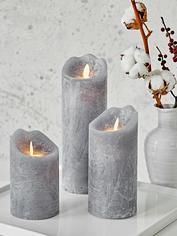 Grey LED Pillar Candles