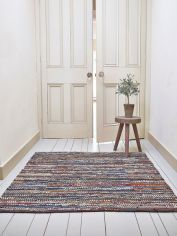 Boho Square Rug - Leather & Cotton
